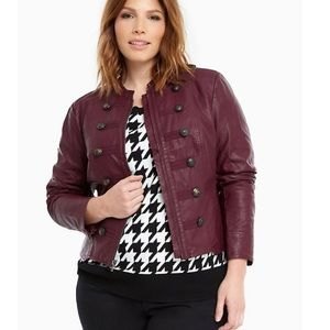 Torrid faux leather military style jacket Burgundy